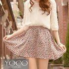 Elastic-Waist Floral A-Line Skirt 1596