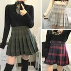 Check Woolen Pleated Skirt 1596