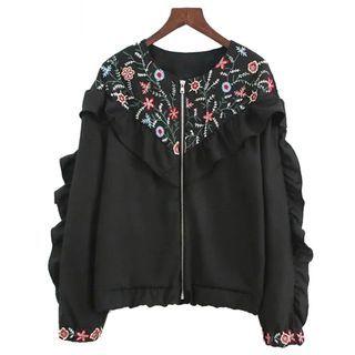 Floral Ruffle Zip Jacket 1059459028