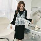 Set: Ruffled Dress + Sleeveless Lace Top 1596