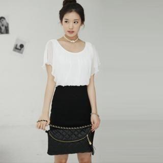 Buy VIVIDRESS Mock Two-Piece Chiffon Dress 1022482710