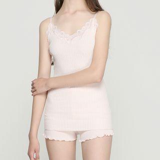 Pajama Set: Lace Trim Ribbed Camisole Top + Shorts 1066724413