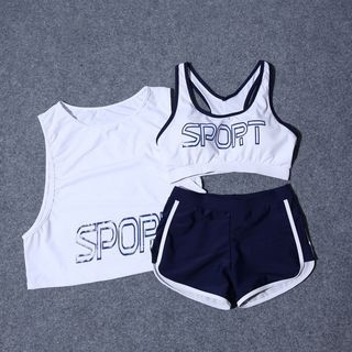 Set: Lettering Bikini Top + Swim Shorts + Cover-up 1062325990