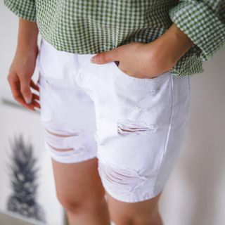 Distressed Cotton Shorts 1050685669