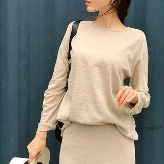 Long-Sleeve Linen Blend Knit Top 1067873087
