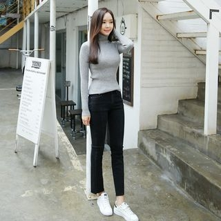 Turtle-Neck Ribbed Slim-Fit T-Shirt 1054040986