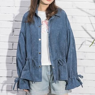 Drawstring Waist Buttoned Corduroy Jacket Pink