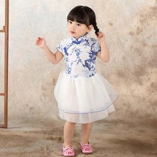 Kids Floral Print Mandarin Collar Short Sleeve Tulle Dress 1059591435