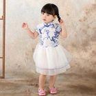 Kids Floral Print Mandarin Collar Short Sleeve Tulle Dress 1596