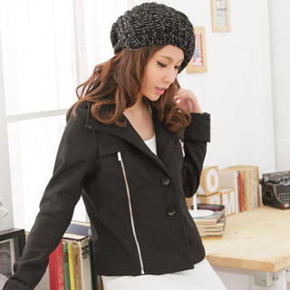 Image of Zip-Detail Single-Breasted Cropped Wool Jacket