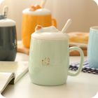 Couple Matching Print Ceramic Cup + Spoon 1596