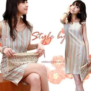 Buy ODDmolly Sleeveless Striped Dress 1022916449