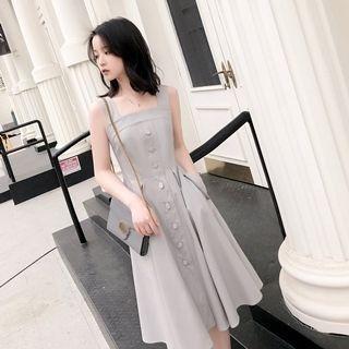 Sleeveless Button-Front Dress 1066619728