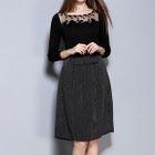 Set: Mesh Trim Ribbed 3/4 Sleeve Knit Top + Striped Midi Skirt 1596