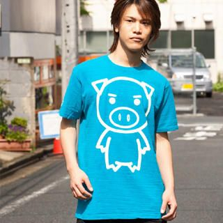 Picture of Buden Akindo Print Crewneck T-Shirt - BIG Beautiful Pig 1022724351 (Buden Akindo, Mens Tees, Japan)