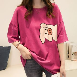 Image of Elbow-Sleeve Pig Print T-Shirt