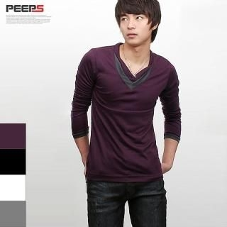 Buy Peeps Contrast Trim V-Neck Tee 1022271979