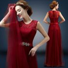 Lace Appliqu  Sleeveless A-Line Evening Gown 1596