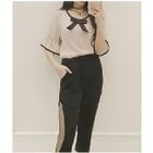 Set: Ribbon Accent Elbow Sleeve Blouse + Mesh Trim Cropped Pants 1596