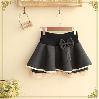Lace-Trim Layered Mini Skirt 1046915852