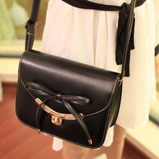 Twist-Lock Bow-Accent Crossbody Bag