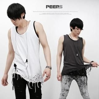 Buy Peeps Cutout Fringed Hem Tank Top 1022726321