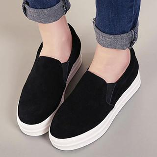 Genuine-Leather Platform Slip-Ons