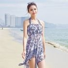 Set: Printed Dress + Ruffled Bikini 1596