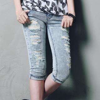 Buy Nalan Girl Distressed Cropped Jeans 1023007322