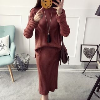 Set: Plain Ribbed Sweater + Midi Knit Skirt 1057588636