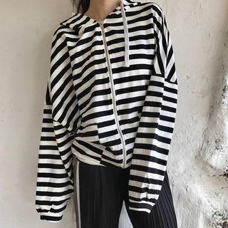Striped Zip Hoodie 1062427498