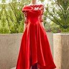 Asymmetrical Elbow-Sleeve A-Line Dip Back Evening Gown 1596