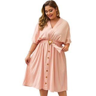 Image of Belted V-Neck Short-Sleeve A-Line Dress
