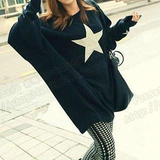 Star Print Oversized T-Shirt 1039810432