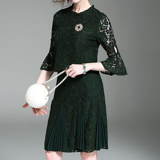 Set: Bell-Sleeve Lace Top + Lace Skirt 1059641357