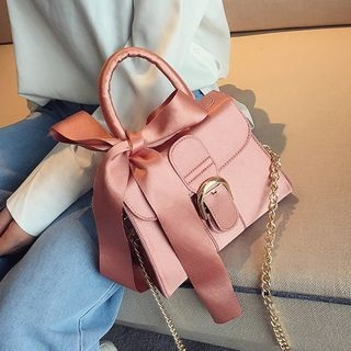 Bow Accent Chain Strap Crossbody Bag