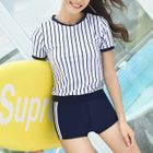 Set: Striped Short-Sleeve Swim Top + Swim Shorts 1596