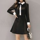 Elbow-Sleeve Collared Dress 1596