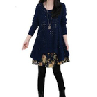 Long-Sleeve Floral Panel Knit Dress 1596