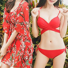 Set: Strappy Bikini + Floral Print Cover-up 1596