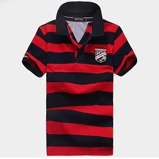 Product Image of Short-Sleeve Embroidered Striped Polo Shirt