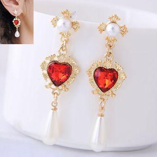 Rhinestone | Earring | Pearl | Heart | Faux