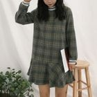 Long-Sleeve Plaid Mini Dress 1596