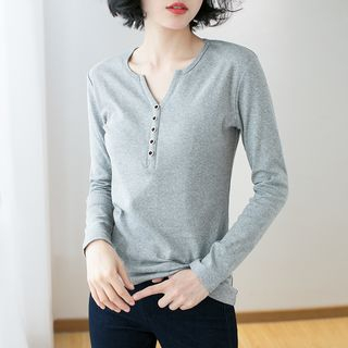 Image of Button Accent Long-Sleeve T-Shirt