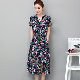 Stand Collar Leaf Printed Midi Dress 1061193694