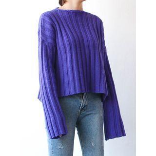 Wool Blend Drop-Shoulder Ribbed Knit Top 1057050336