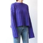 Wool Blend Drop-Shoulder Ribbed Knit Top 1596