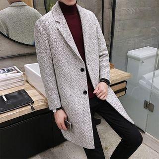 Long Notch Lapel Woolen Coat 1061993956