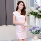 Cap-Sleeve Embroidered Sequined Cheongsam Blue - 2XL от YesStyle.com INT