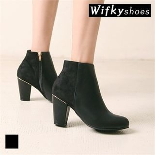 Metal-Trim Chunky-Heel Ankle Boots